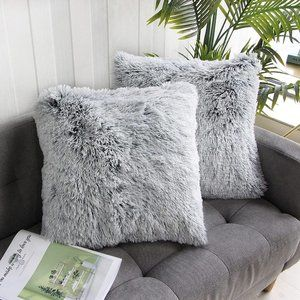 2 Pcs Gray Luxury Soft Faux Fur Throw Pillow Cover